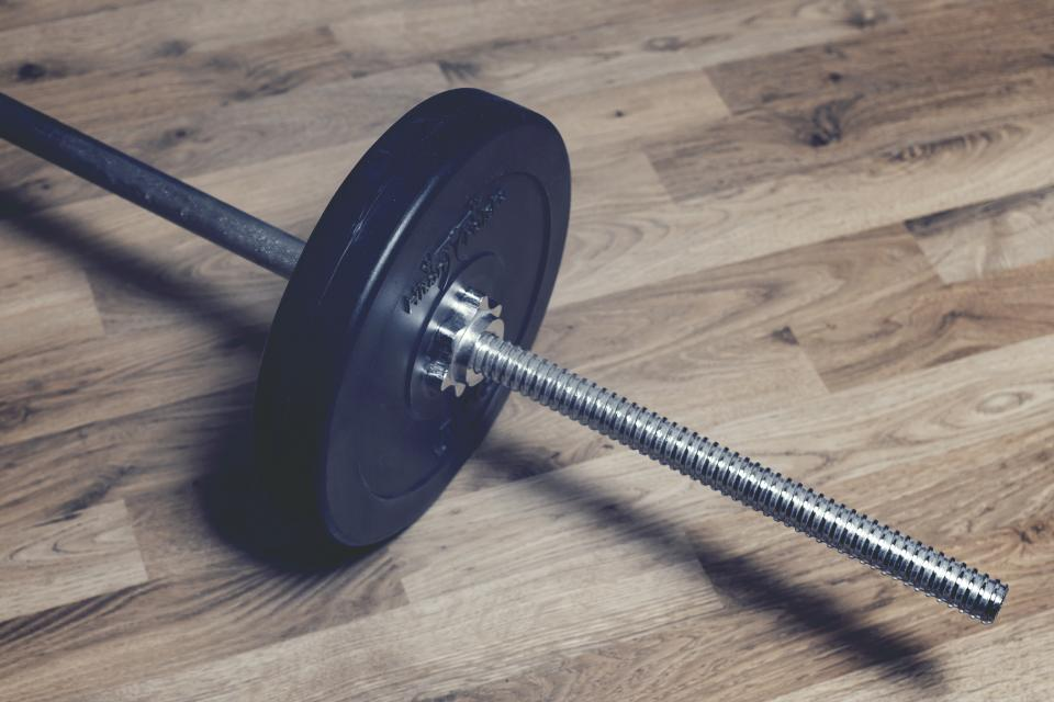 weights fitness barbell dumbbells hardwood exercise gym health