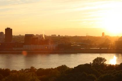 sunset, sky, water, river, buildings, trees, view, skyline, city, molson, montreal