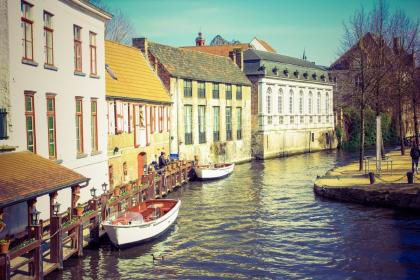 houses, apartments, boats, water, trees, village, dock