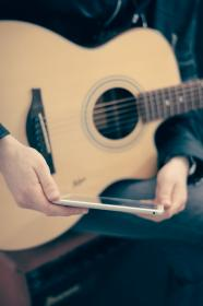 ipad, tablet, acoustic guitar, musician, music, technology, audio