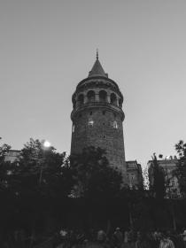 Galata Tower, Istanbul, Turkey, architecture, people, black and white