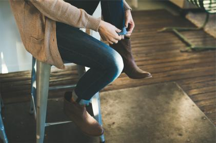 fashion, clothes, clothing, boots, jeans, cardigan, sweater, woman, girl, stool, hardwood, floors