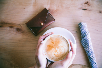 cappuccino,  hands,  table,  purse,  money,  cash,  wood,  woman,  people,  hot,  coffee,  white,  cup,   mug