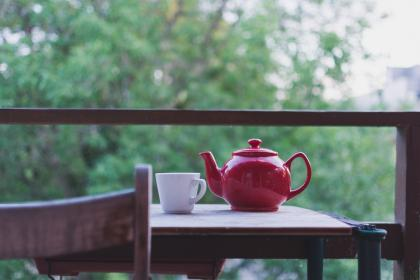 tea, hot, coffee, cup, mug, table, love, chill, relax, breakfast, morning, pot, trees, green, verranda
