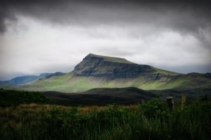 highland, trees, plant, green, grass, mountain, landscape, cloud, sky, nature