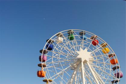 ferris wheel, amusement park, ride, fair, fun, blue, sky