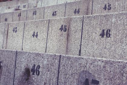 concrete, seats, numbers