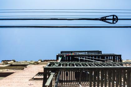architecture, building, infrastructure, blue, sky, facade, transmission, line