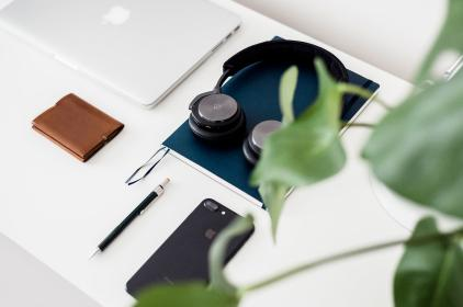 white, table, apple, mobile, phone, wallet, headphone, laptop, macbook, book, business, office, green, plant, pen