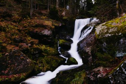 waterfall, river, stream, rocks, moss, woods, forest, nature, outdoors, hike, trek, trail