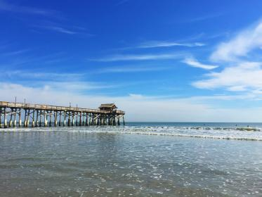beach, florida, pier, water, ocean, blue, sky, clouds, waves