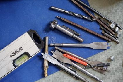 tools, level, drill bits, wrench bits, screws