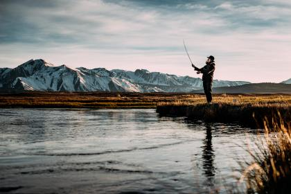 nature, water, lake, mountains, snow, fishing, sky, clouds, people, man, guy