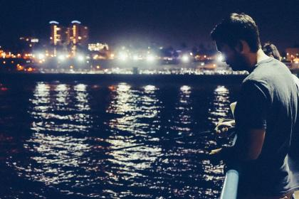 fishing, rod, water, dark, night, pier, tshirt, man, lights, city, evening