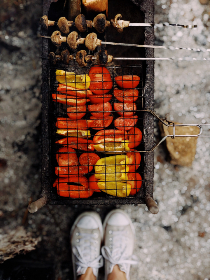 barbecue,  peppers,  chicken,  fire,  roast,  bbq,  cook,  outdoors,  grill,  shoes,  sneakers,  pork,  meat,  food