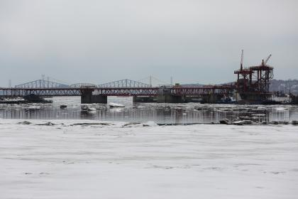 industrial, bridge, river, water, ice, frozen, freezing, boats, harbor, cranes