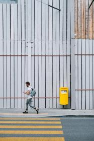 guy, man, male, walk, side, style, fashion, street, pedestrian, lane, wood, panels, walls, city, urban, metro, lines, linear, patterns, minimalist