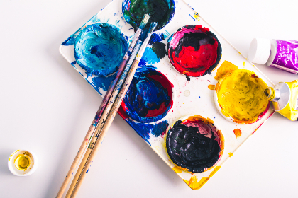 paint,  supplies,  top,  brush,  art,  creative,  design,  close up,  flat lay,  paint tray,  artistic,  colorful,  wet paint,  paint tools