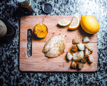 fish,   lemon,   chopping board,   cooking,   food,   knife,   herbs,   dinner,   dish,   meal,   potatoes,   spices,   table,   wood