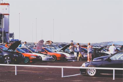 cars, car show, parking lot, hood, rims, performance, racing, people, summer, automotive, group