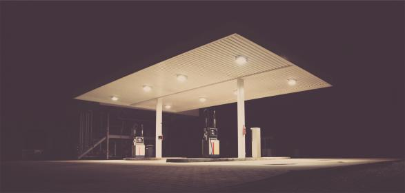 gas station, service station, pumps, dark, night