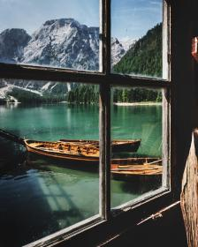lake, water, wooden, boat, outdoor, window, glass, frame, sunny, day, mountain, trees, plant, valley, hill, landscape, view