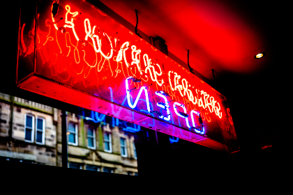 neon,  sign,  night,  store,  signage,  open,  glowing,  light,  restaurant,  bar,  advertising,  red,  blue,  abstract,  exterior,  building