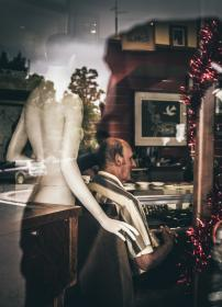 people, man, old, manikin, nude, back, painting, paint, arts, chair, glass, plates, wooden, steel, reflection, trees, car, sitting, inside, indoor