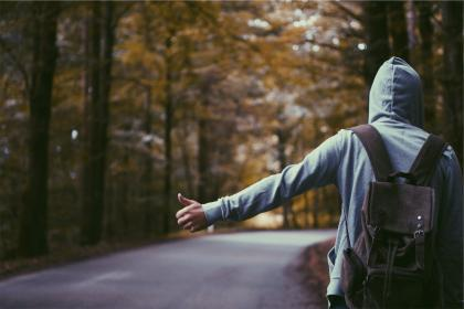 hitchhiker, thumb, hoodie, backpack, knapsack, guy, man, people, road
