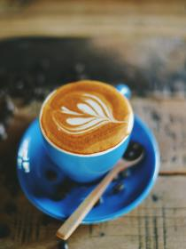 cappuccino, froth, coffee, espresso, drink, steamed, milk, blue, cup, saucer, spoon, coffeehouse, shop, cafe