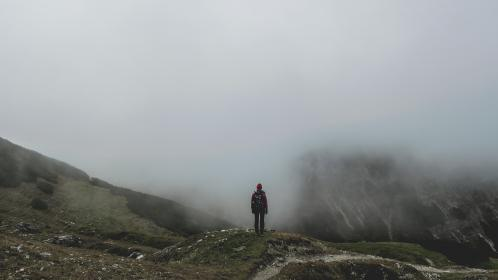 guy, man, male, people, back, stand, contemplate, nature, mountains, summit, peaks, travel, trek, hike, climb, fog