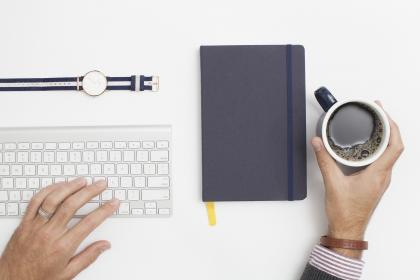 office, desk, hands, keyboard, cup, coffee, mug, notebook, notepad, journal, watch, objects, business, working