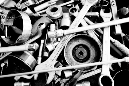 monochrome,  tools,   silver,   stainless steel,   metallic, steel, metal, shiny, wrench, spanner, nuts, bolts, parts, cog