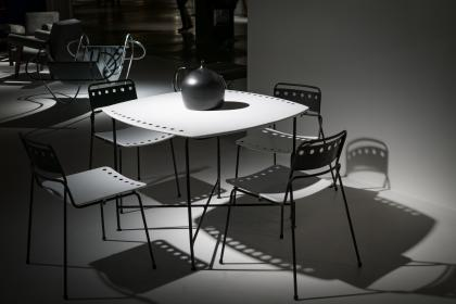 table, chair, office, work, black and white, shadow, monochrome, set