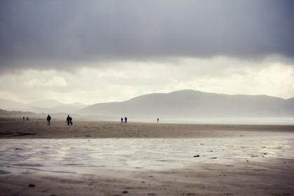 grey, sky, clouds, mountains, hills, beach, sand, water, people, water