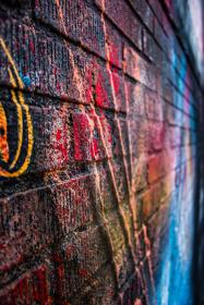 street, art, colors, colours, wall, bricks, gravity, spray paint
