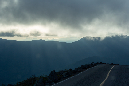 misty,   mountain,   road,   fog,   clouds,   sky,   driving,   cliffs,   nature,   landscape,   travel,   route,   hills,  light,  rays,  horizon
