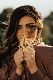 people, girl, woman, alone, fashion, clothing, model, beauty, brown, jacket, hair