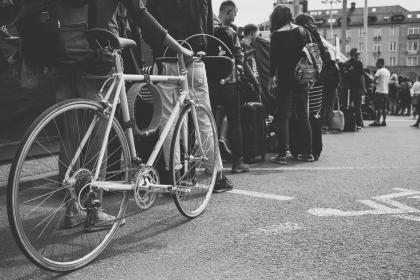 transportation, bicycle, wheels, cogs, gears, steel, lines, patterns, people, asphalt, road, sign, black and white