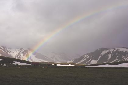 rainbow, sky, clouds, cloudy, fog, mountains, peaks, snow, grass, field, valleys, nature, landscape