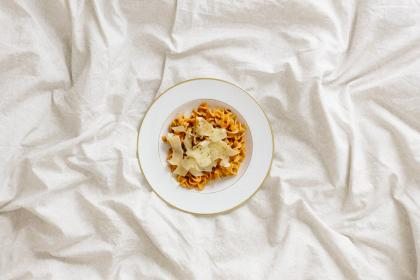 white, bed, sheet, blanket, plate, food, snack