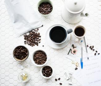 coffee, beans, seeds, espresso, drink, pen, paper, clip, table