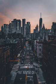 city,  dusk,  view,  street,  urban,  buildings,  new york,  nyc,  crosswalk,  skyline,  pastel,  clouds,  brick,  glass,  cars,  rooftops