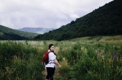 green, grass, mountain, highland, nature, mountain, travel, cloud, sky, people, walking, alone, path, outdoor