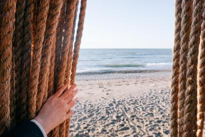 sea, ocean, water, horizon, blue, sky, beach, white, sand, nature, travel, outdoor, people, hand, rope