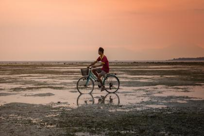 guy, man, male, people, cycling, bicycle, basket, plain, mud, wet, puddle, land, sky, clouds, horizon, gradient