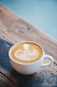 cappuccino, latte, froth, coffee, espresso, drink, steamed, milk, blue, cup, saucer, spoon, coffeehouse, shop, cafe