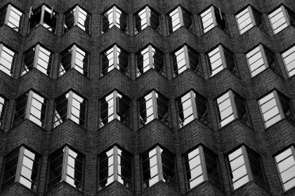 architecture, building, infrastructure, black and white, facade, window, glass