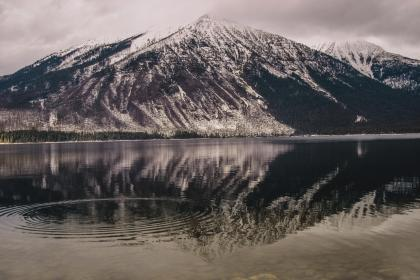landscape, mountains, hills, lake, water, reflection, snow, sky, clouds, cloudy, nature