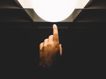 finger, pointing, light, hand, lamp